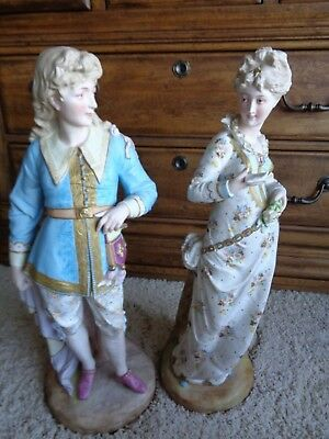 Stunning Antique LARGE French Bisque Statue Set Pinky & Blue Boy