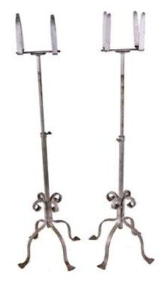 Unique Pair Of Matching C. 1920's Ornamental Wrought Iron Adjustable Plant Stand