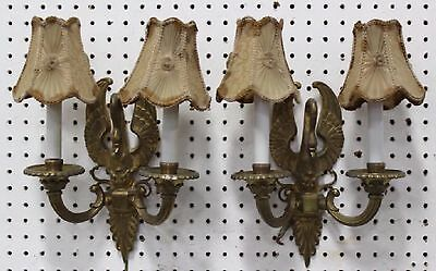 Antique Vintage French Empire Swan Figural Pair Bronze Brass Wall Sconces Sconce
