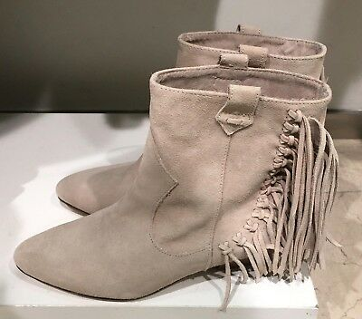 2f40c5351e4 Zara Leather Boots Fringed Light Beige Suede Ankle Boots Size 5 Uk 38 Eu  7.5 Us