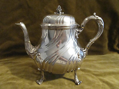 Gorgeous late 19th c french sterling silver very large tea pot rococo st Tetard