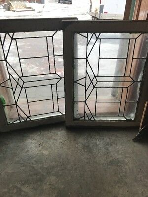 Sg 1751 Match Pair Antique Fireside Leaded Windows 23 X 28.5