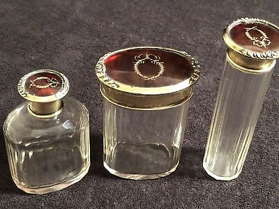 Vintage Art Deco Foux Tortious hell Sterling Silver Top Vanity Set- 3 Pieces