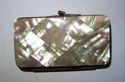 Vintage Mother of Pearl Coin Purse Expanding Leather Interior Natural Shell