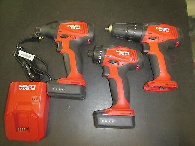 Hilti Sid 2-A Sfd 2-A Sf 2H-A 12V Set 2 Batteries 1 Charger W/ Carrying Bag
