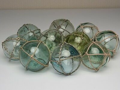 """Japanese Antique Old Glass Fishing Float Ball 2.1"""" - 2.6"""" Lot 5 Balls + Nets"""