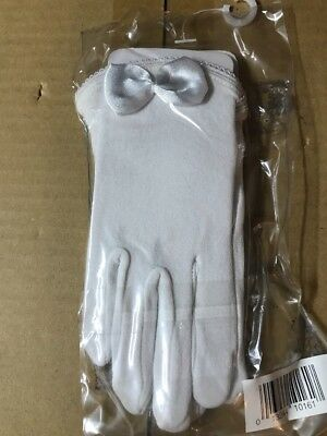 GIRL'S WHITE FORMAL DRESS GLOVES Satin Bow Ages 2-4 Years   Toddler Nolan Glove