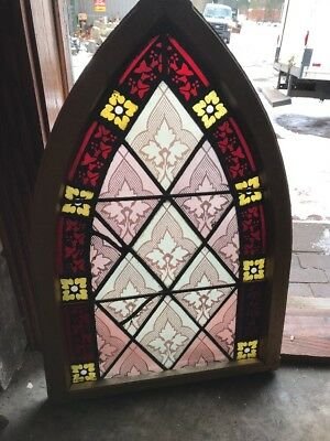 Sg 1755 Gothic Arch Antique Painted And Fired Stainglass Window