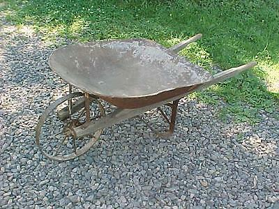 Antique Metal Wheel Wheelbarrow Wood Handles Great For Garden Display Or Use