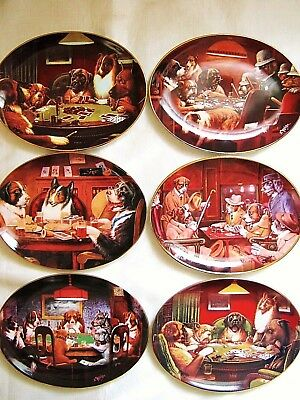 Set of 6 Dogs Playing Poker Cards C.M. Coolidge Brown & Bigelow Collector Plates