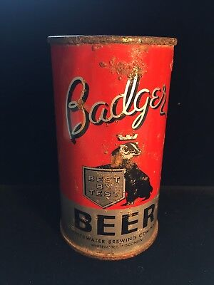 Badger 12oz Flat Top Beer Can IRTP & OI  - Rare Whitewater WI Can