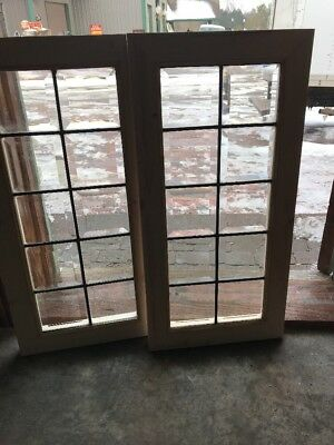 Sg 1759 Match Pair Antique All Beveled Glass Transom Window 15 X 30