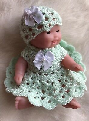 "HAND CROCHETED DOLL dress 2 piece Outfit for 5"" BERENGUER or similar doll"
