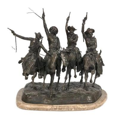 """REPRODUCTION BRONZE AFTER FREDERIC REMINGTON """"Coming Through the Rye""""... Lot 660"""