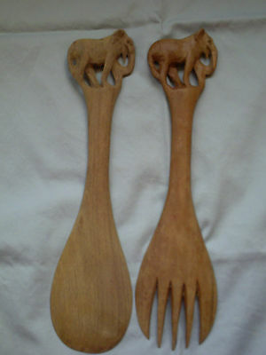 Vintage Hand Carved Wood Salad Tongs With Elephants Spoon and Fork