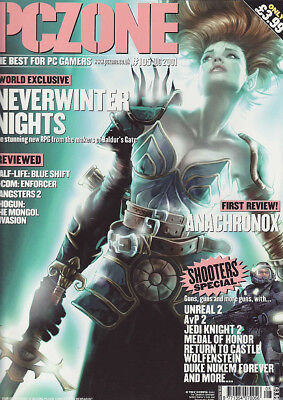 PC ZONE MAGAZINE issue 105 AUGUST 2001 - NEVERWINTER NIGHTS cover!