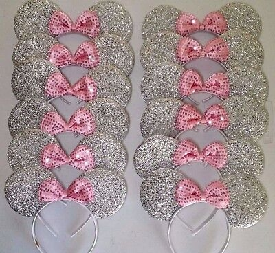 12 pc Minnie Mickey Mouse Ears Headbands Shiny Silver Pink Birthday Party Favors