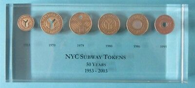 New York Transit Museum NYC Subway Token Lucite Collectors Set All 6 1953-2003