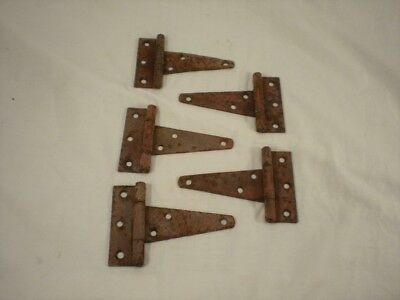 5 Vintage Barn Door Gate T STRAP HINGES Rustic Rusty Old Paint Shabby Chic Decor