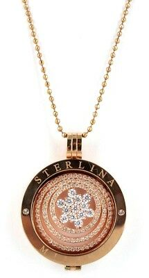 Sterlina Mi Milano Pendant Valentines Gift Necklace Crystal Coin Rose Gold Star