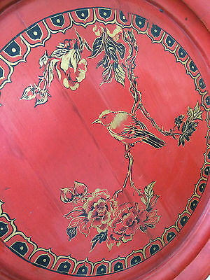 Antique Chinese Traditional Art Wood RED Painted Bird Bronze On A Limb Pedestal