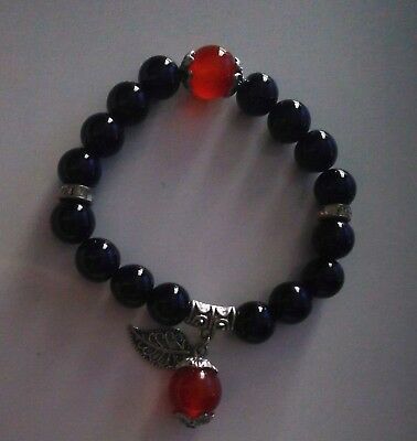 Code 678 Archangel Michael n Raziel Infused Bracelet black n red agate Spiritual