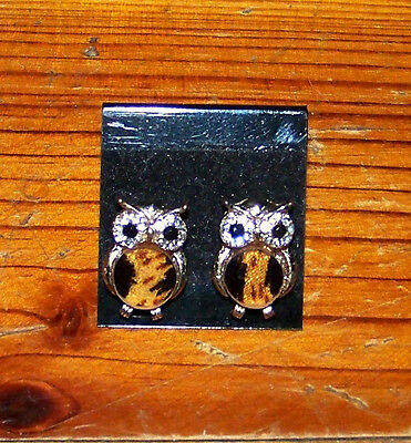 New! Adorable Girls Gold Plated Beautiful Brown Owl Jewel Post Stud Earrings