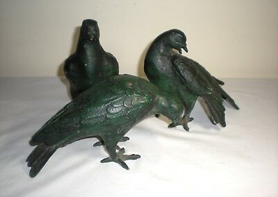 Rare 3 piece Antique Cast Iron Architectural Figural Garden Doves/Pigeons/Statue