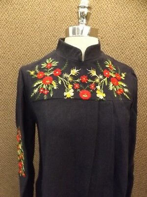 Amazing Vtg 1950s NEW Winter Wool Bold Floral Embroidered Dress M Ethnic Nordic