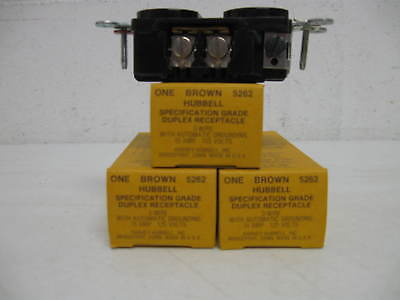 10 HUBBELL 5262 Brown 15A Duplex Grounding Receptacle