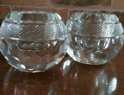 "Beautiful Pair of Glass Votive Vases 2 3/4"" H x 3 1/2"" W Heavy"