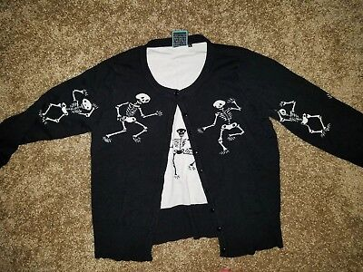 Too Fast Brand Cardigan Dancing Skeletons XL Goth Alternative