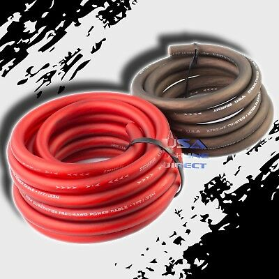 4 AWG Gauge 25ft Red/Black Flex OFC Power Wire Strands Copper Volt Marine Cable
