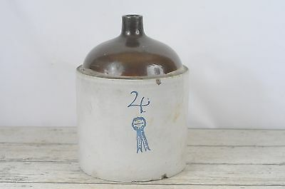 Vintage/Antique Buckeye Pottery Blue Ribbon Stoneware Jug 4 Gallon Glazed Jug