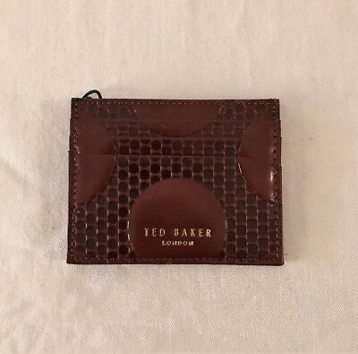 Ted Baker Spot Embossed Leather Card Wallet in Brown NWT $85.00
