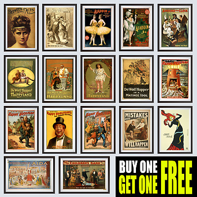 Theatrical Vintage Posters, Wall Art Decor, A4 or A3 Size, 200gsm Gloss Prints