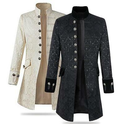 Mens Long Jacket Coat Gothic Steampunk Aristocracy Banquet Party Club Outwear
