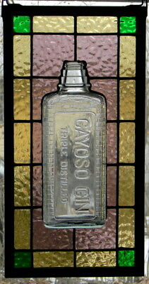 Stained Glass Panel with Vintage Gayoso Gin Bottle