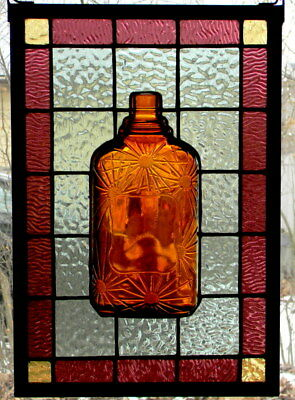 Stained Glass Panel with Vintage Whiskey Bottle