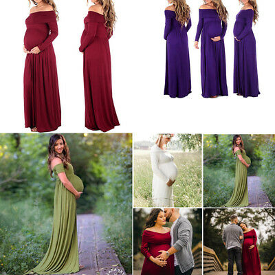 USA Sell Women Cowl Neck Off Shoulder Dress Pregnant Photography Maternity Dress