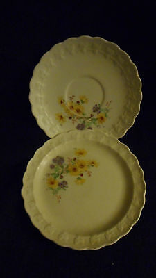 vintage Taylor Smith china dessert plate & saucer ivory w/yellow flowers