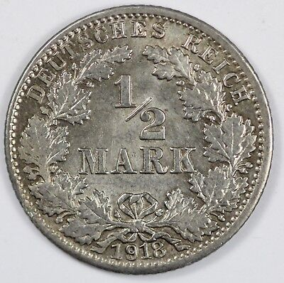 Germany (Empire) 1918 J Silver 1/2 Mark, Choice Uncirculated