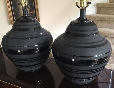 Pair Vintage Modern Lamps Striped Black Shiny/Matte, Very Cool 60s or 70s