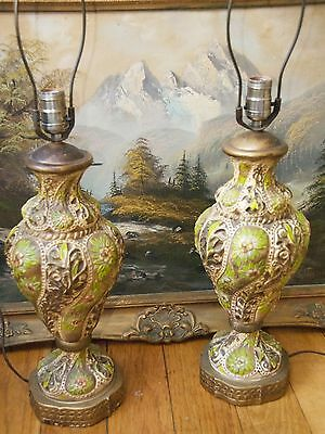 2 Lamps Vintage Mid Century Ceramic Painted Capodimonte Green Floral Ottoman