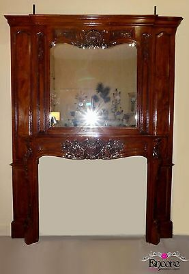 1393-501: Hand Carved Wood Fireplace Mantel and Surround