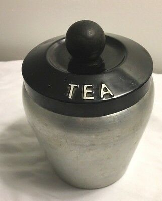 Vintage Spun Aluminum Canister Tea with Lid Made in Italy Wood Knob