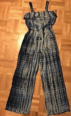NWT Justice Girls Blue Tie-Dye Outfit One-Piece Jumpsuit Top Pants size 8 Romper