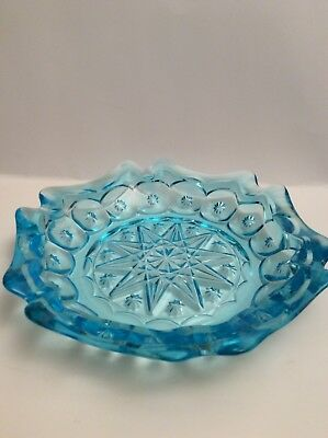 "Wright Moon and Star 8-1/2"" Glass Electric Blue Ashtray"