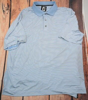 FJ  Footjoy Prodry Lisle Golf Polo Shirt Blue White Stripe XL Mens