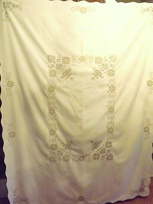 "Vintage Antique Large Embroidered Cross Stitch Tablecloth 58"" X 74"" Beautiful"